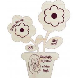 Drewniany kwiat z grawerem. Prezent z okazji...