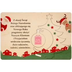 Kartka z życzeniami i logo - choinka z bombką