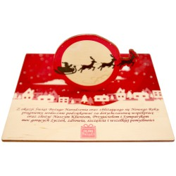 Kartka z życzeniami i logo - Sanie mikołaja