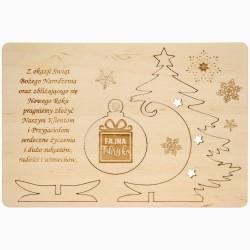 Kartka z życzeniami i logo - drewno 1