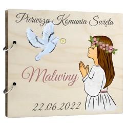 Drewniany album - prezent pamiątka I Komunia...
